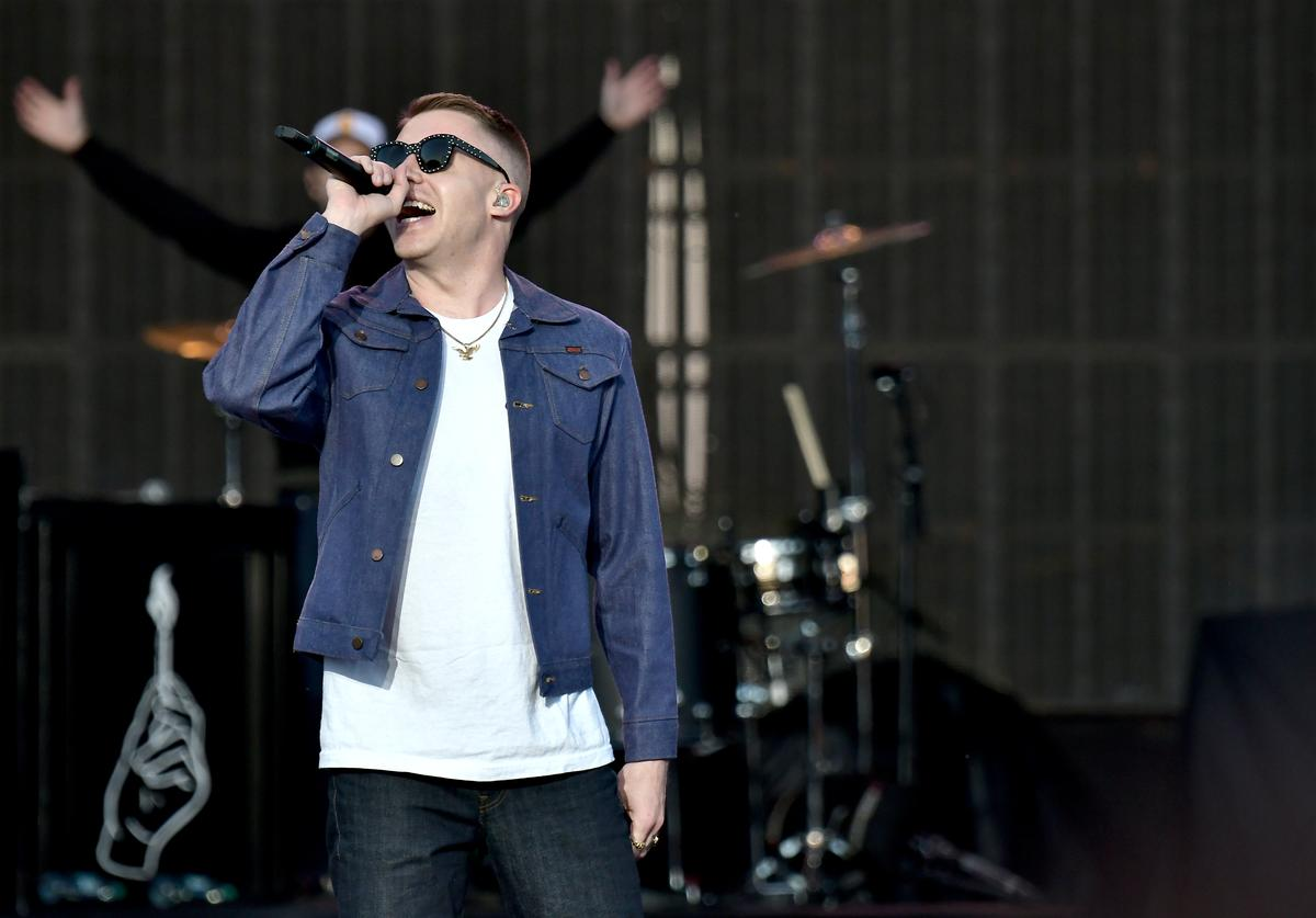 Musicians Macklemore and Ryan Lewis perform at the Capital One JamFest during the NCAA March Madness Music Festival 2017 on April 2, 2017 in Phoenix, Arizona