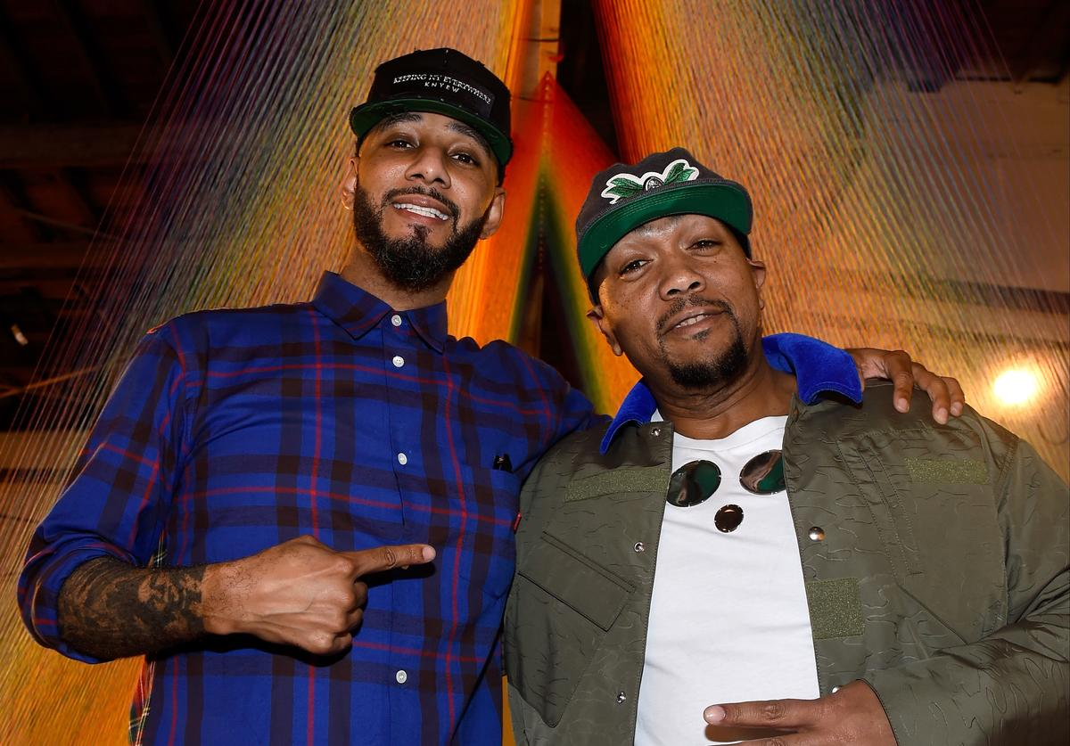 Recording artists Swizz Beatz and Timbaland attend The Dean Collection X BACARDI Untameable House Party on December 4, 2015 in Miami, Florida