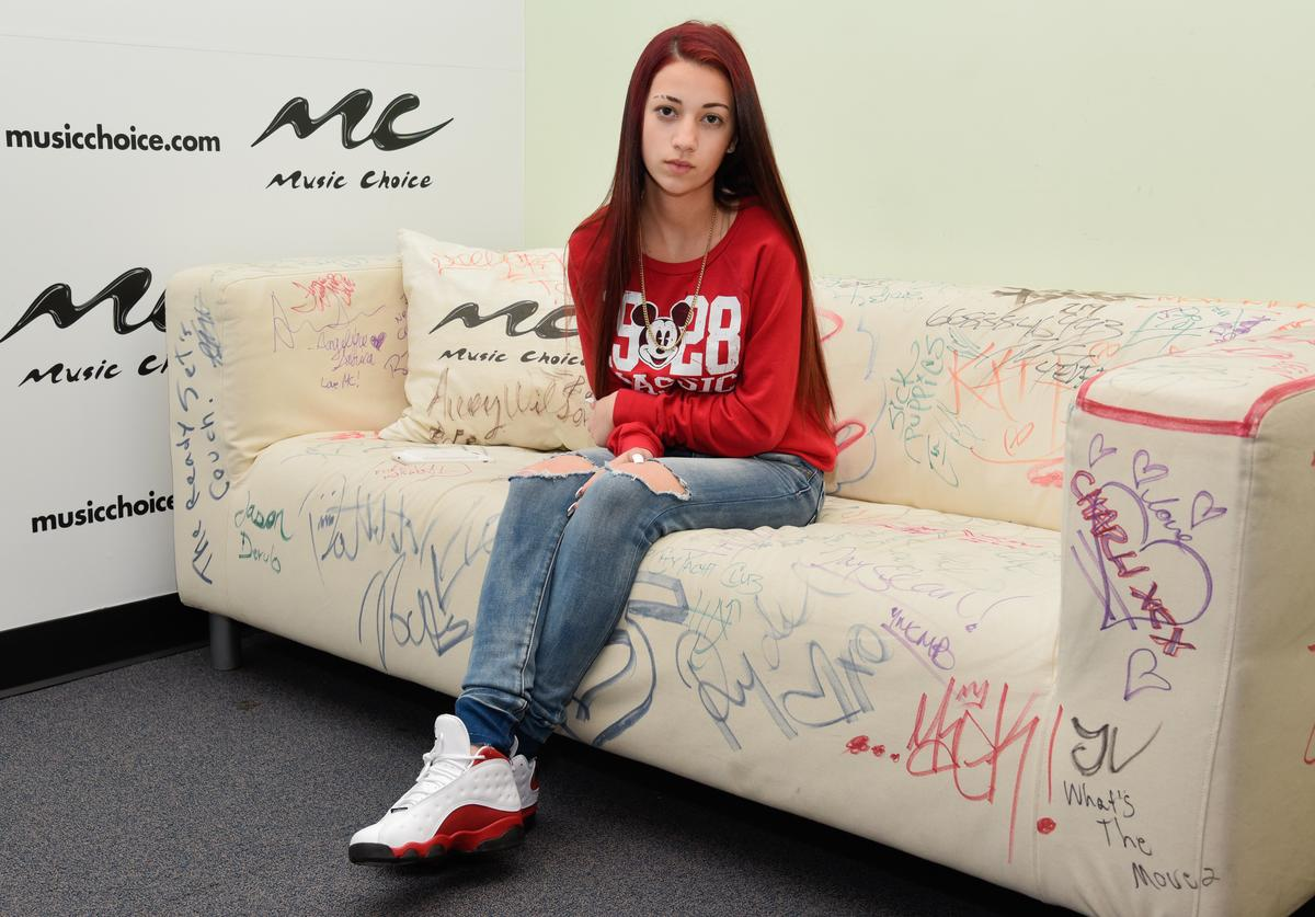 Danielle Bregoli aka the 'Cash Me Outside' girl visits at Music Choice on February 28, 2017 in New York City.