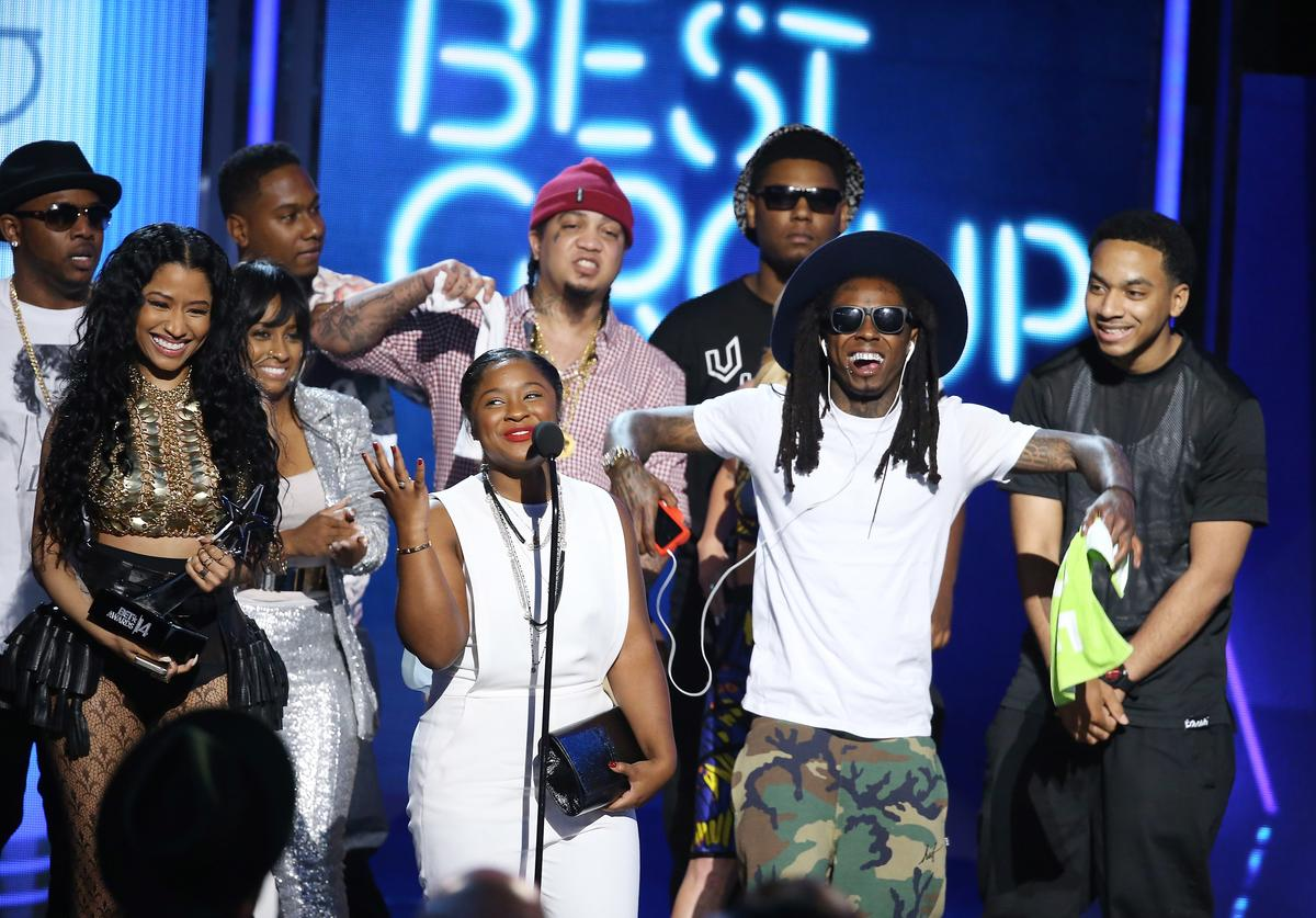 Lil Wayne, Nicki Minaj & Young Money on stage at BET Awards