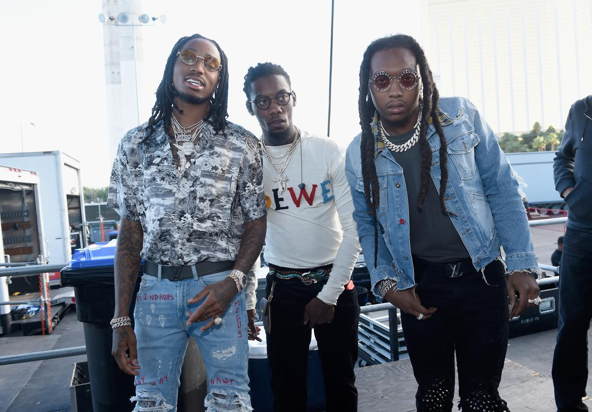 Quavo, Offset and Takeoff of Migos backstage during the Daytime Village Presented by Capital One at the 2017 HeartRadio Music Festival at the Las Vegas Village on September 23, 2017 in Las Vegas, Nevada.