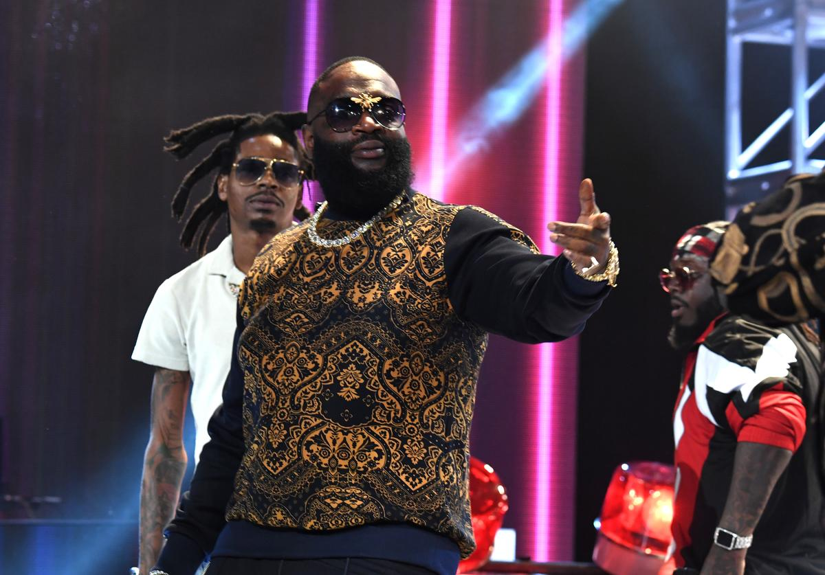 Rick Ross performs onstage during the BET Hip Hop Awards 2017 at The Fillmore Miami Beach at the Jackie Gleason Theater on October 6, 2017 in Miami Beach, Florida