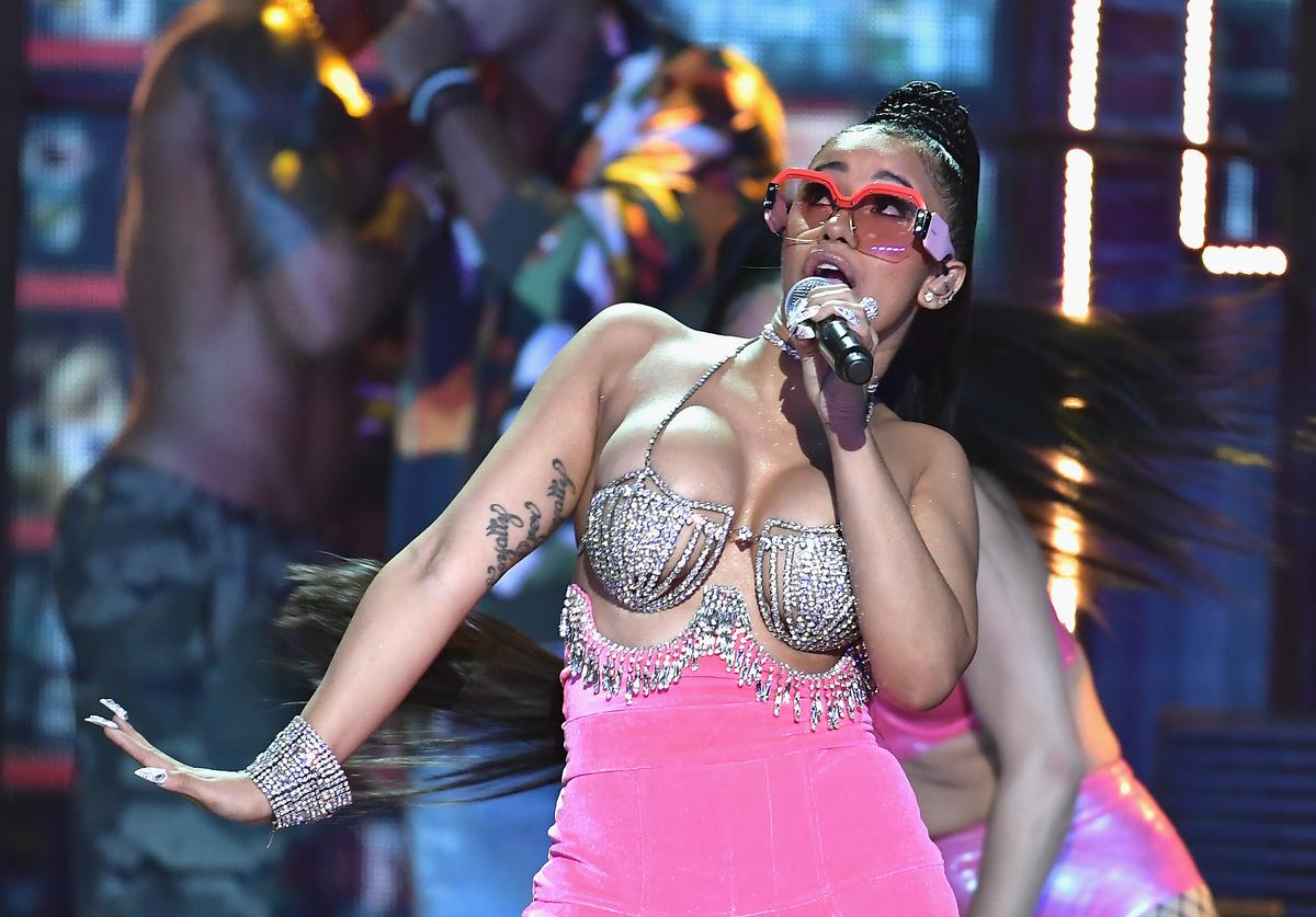 Rapper Cardi B performs onstage during the BET Hip Hop Awards 2017 at The Fillmore Miami Beach at the Jackie Gleason Theater on October 6, 2017 in Miami Beach, Florida