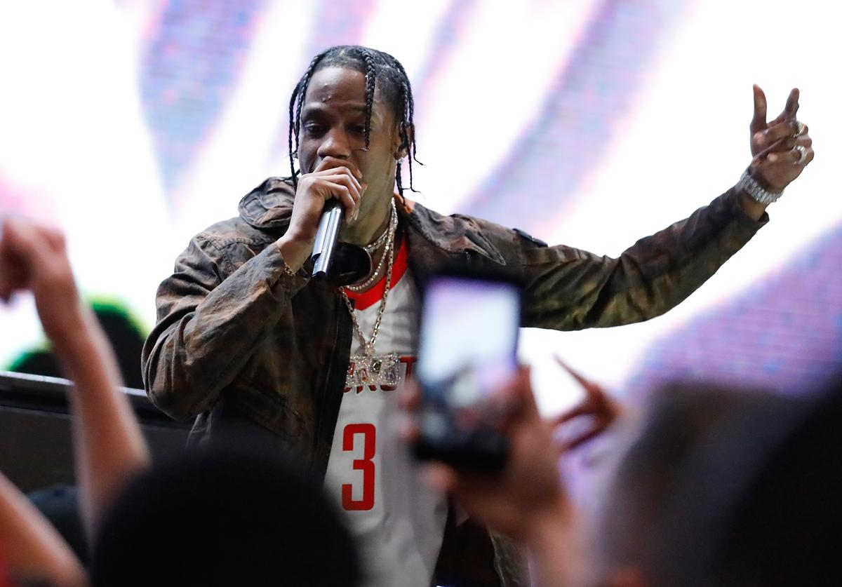 Travis Scott performs during the unveiling of the New NBA Partnership with Nike on September 15, 2017 in Los Angeles, California.