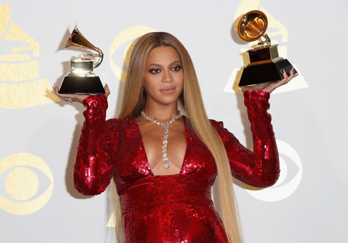 Singer Beyonce, winner of Best Urban Contemporary Album for 'Lemonade' and Best Music Video for 'Formation,' poses in the press room during The 59th GRAMMY Awards at STAPLES Center on February 12, 2017 in Los Angeles, California.