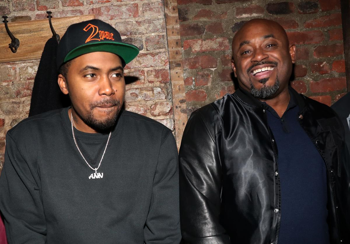 Nas and Steve Stoute attend the 2Pac Pop Up at Sweet Chick on April 6, 2017 in New York City.