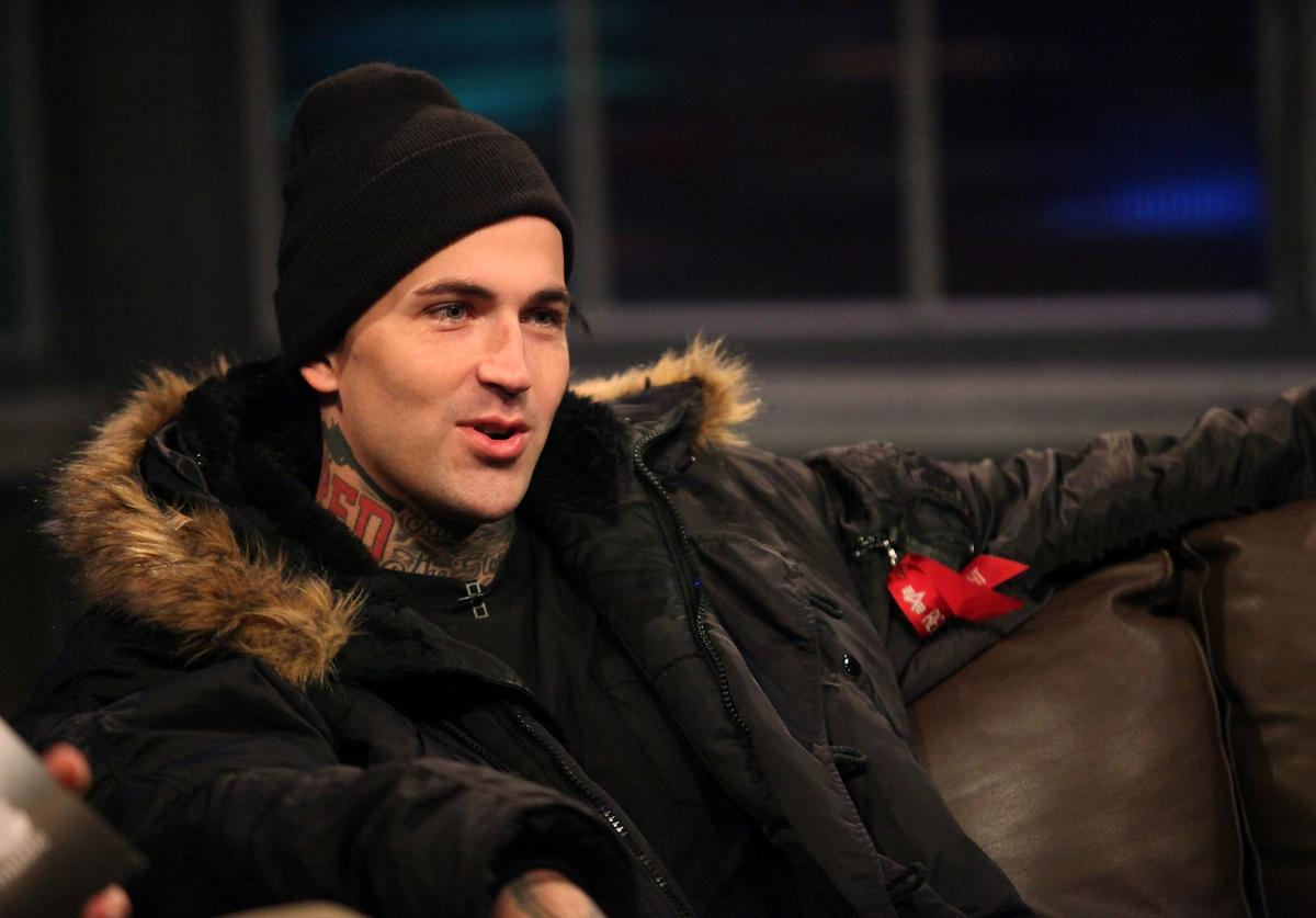 Rapper Michael Wayne Atha, aka Yelawolf, stops by Fuse's 'Hoppus On Music' for an interview with host Mark Hoppus at fuse Studios on October 25, 2011 in New York City.