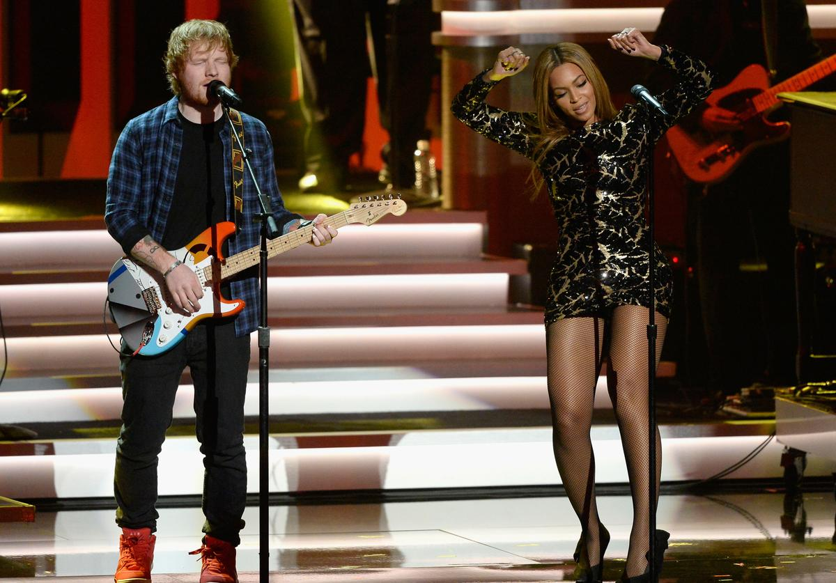Recording artists Ed Sheeran (L) and Beyonce perform onstage during Stevie Wonder: Songs In The Key Of Life - An All-Star GRAMMY Salute at Nokia Theatre L.A. Live on February 10, 2015 in Los Angeles, California.