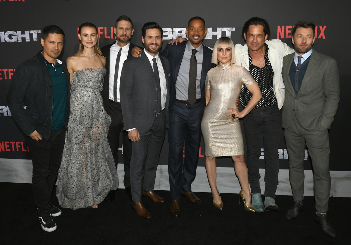 Jay Hernandez, Lucy Fry, David Ayer, Edgar Ramirez, Will Smith, Noomi Rapace, Enrique Murciano and Joel Edgerton attend the Premiere Of Netflix's 'Bright' at Regency Village Theatre on December 13, 2017 in Westwood, California.