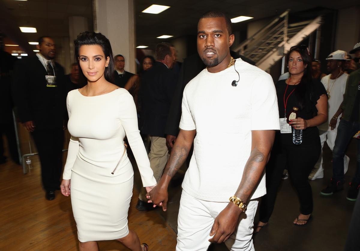 Television personality Kim Kardashian and rapper Kanye West attend the 2012 BET Awards at The Shrine Auditorium on July 1, 2012 in Los Angeles, California.