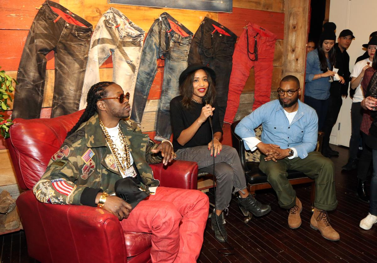 2 Chainz, Nadeska Alexis, and PRPS Founder Donwan Harrell attend the 2 Chainz And PRPS Collaboration Event at PRPS Showroom on December 4, 2014, in New York City.