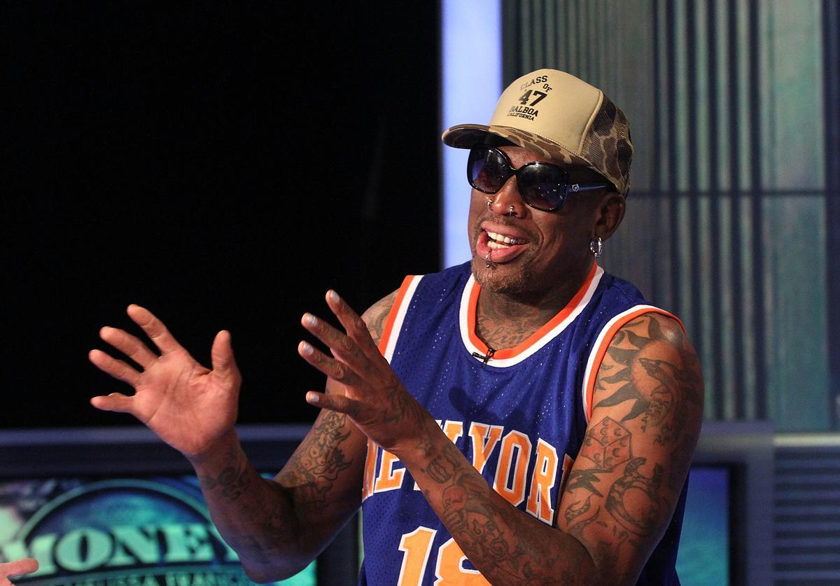 Dennis Rodman Visits The FOX Business Network at FOX Studios on December 9, 2014 in New York City.