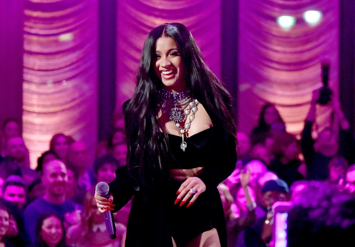 Cardi B performs onstage during the Warner Music Group Pre-Grammy Party in association with V Magazine on January 25, 2018 in New York City.