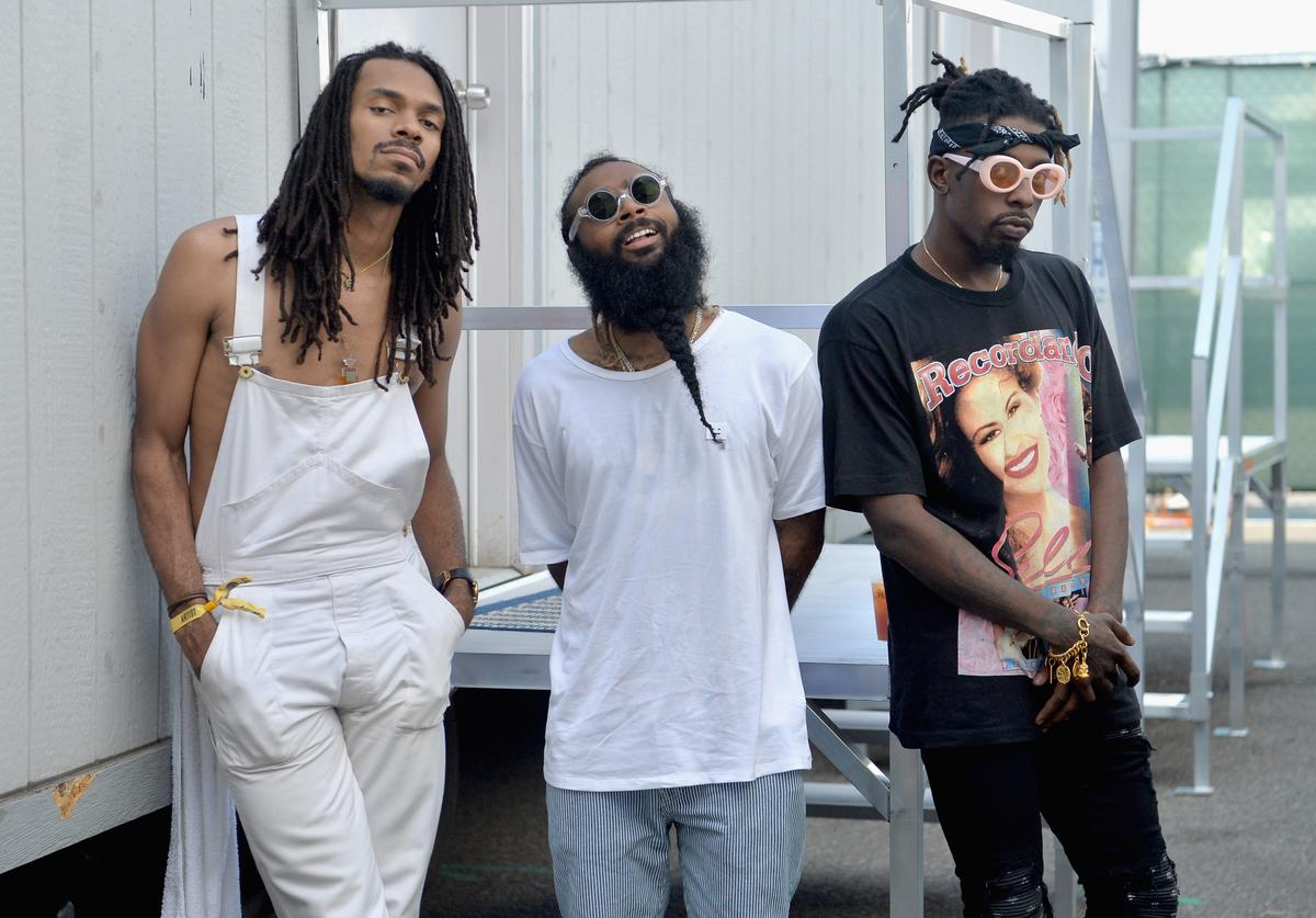 Erick Arc Elliott, Zombie Juice and Meechy Darko of Flatbush Zombies pose backstage during the Meadows Music and Arts Festival - Day 2 at Citi Field on September 16, 2017 in New York City.