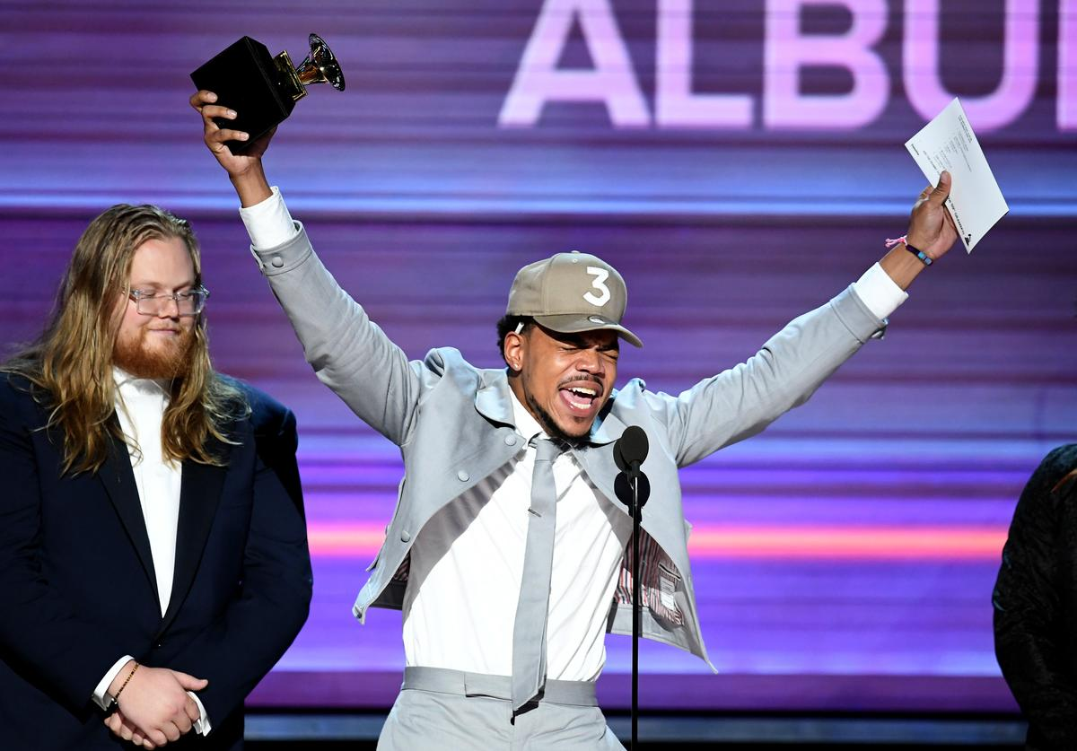 Recording artist Chance the Rapper accepts the Best Rap Album award for 'Coloring Book' onstage during The 59th GRAMMY Awards at STAPLES Center on February 12, 2017 in Los Angeles, California.