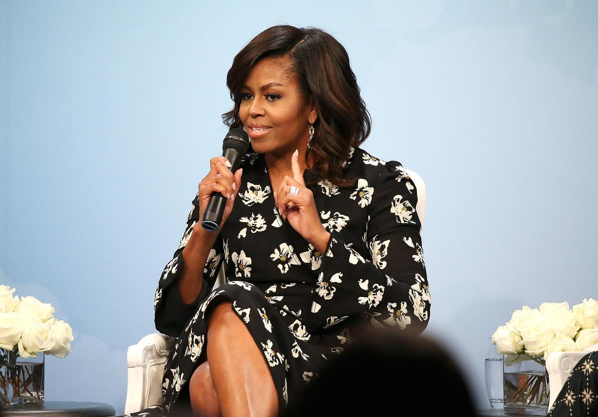 First Lady of the United States Michelle Obama speaks during a panel discussion at Glamour Hosts 'A Brighter Future: A Global Conversation on Girls' Education' with First Lady Michelle Obama at The Newseum on October 11, 2016 in Washington, DC.