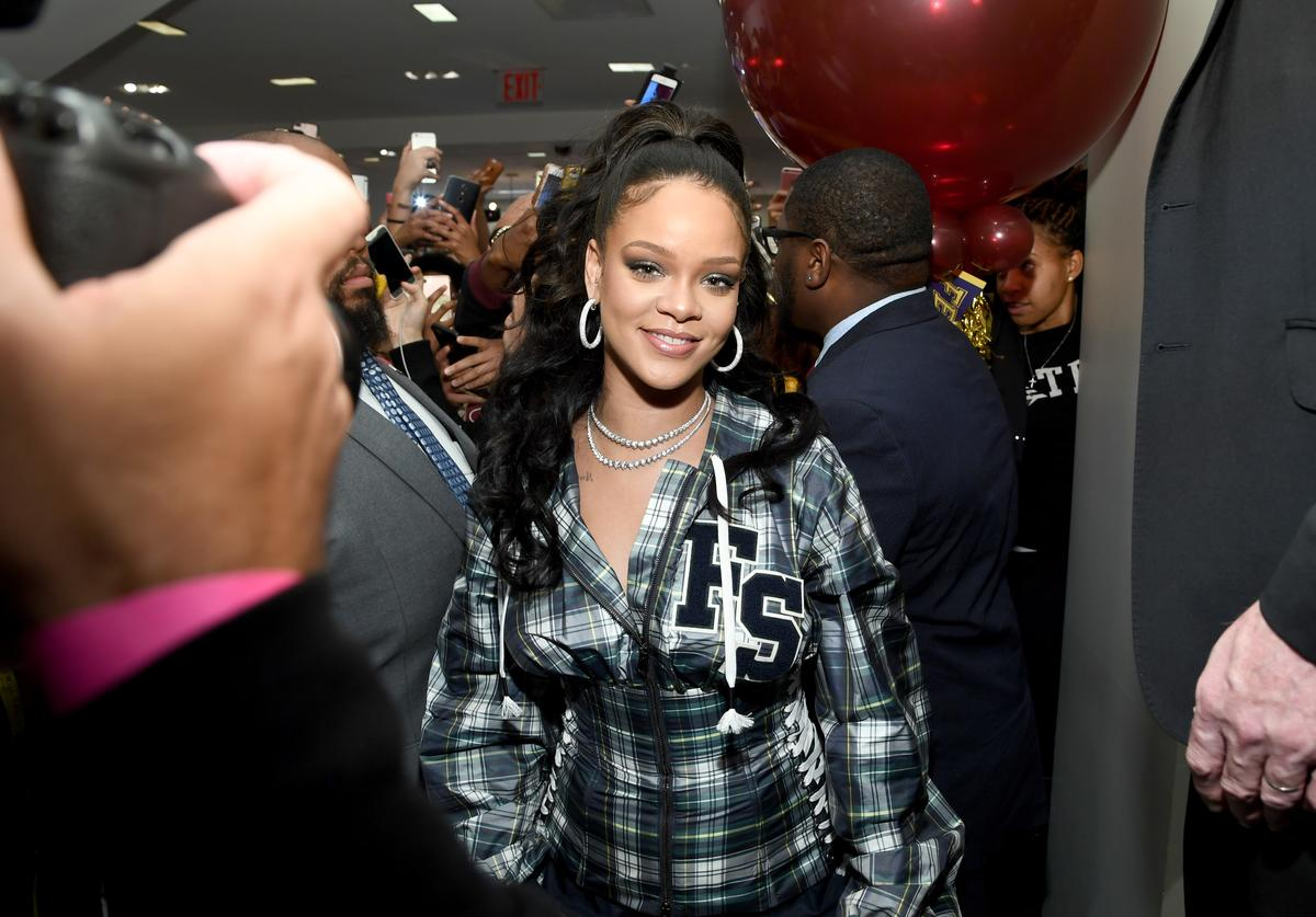Rihanna hosts a pep rally to celebrate the launch of the AW17 FENTY PUMA by Rihanna collection at Bloomingdales on 59th Street on October 13, 2017 in New York City.