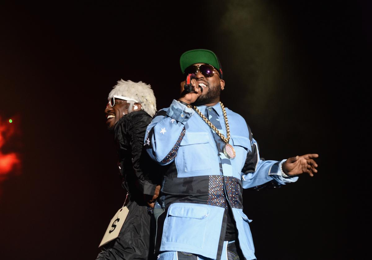 Andre 3000 and Big Boi of Outkast perform at Samsung Galaxy stage during 2014 Lollapalooza Day Two at Grant Park on August 2, 2014 in Chicago, Illinois