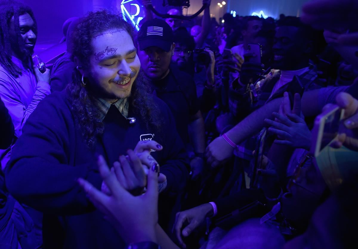Post Malone greets fans at Pandora Sounds Like You: 2017 on December 5, 2017 in New York City