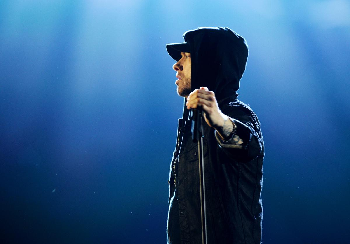 Eminem performs on stage during the MTV EMAs 2017 held at The SSE Arena, Wembley on November 12, 2017