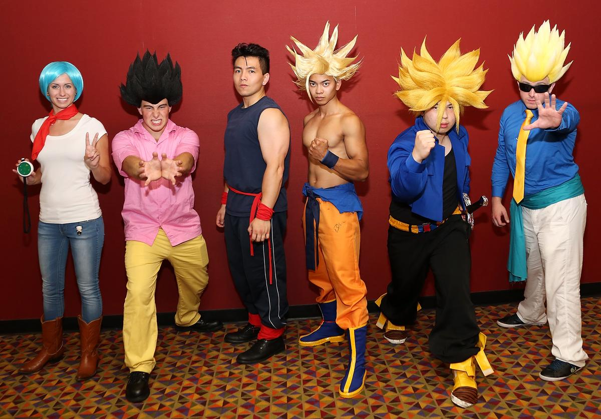 "Cosplayers at the ""Dragon Ball Z: Resurrection 'F'' New York theatrical premiere"
