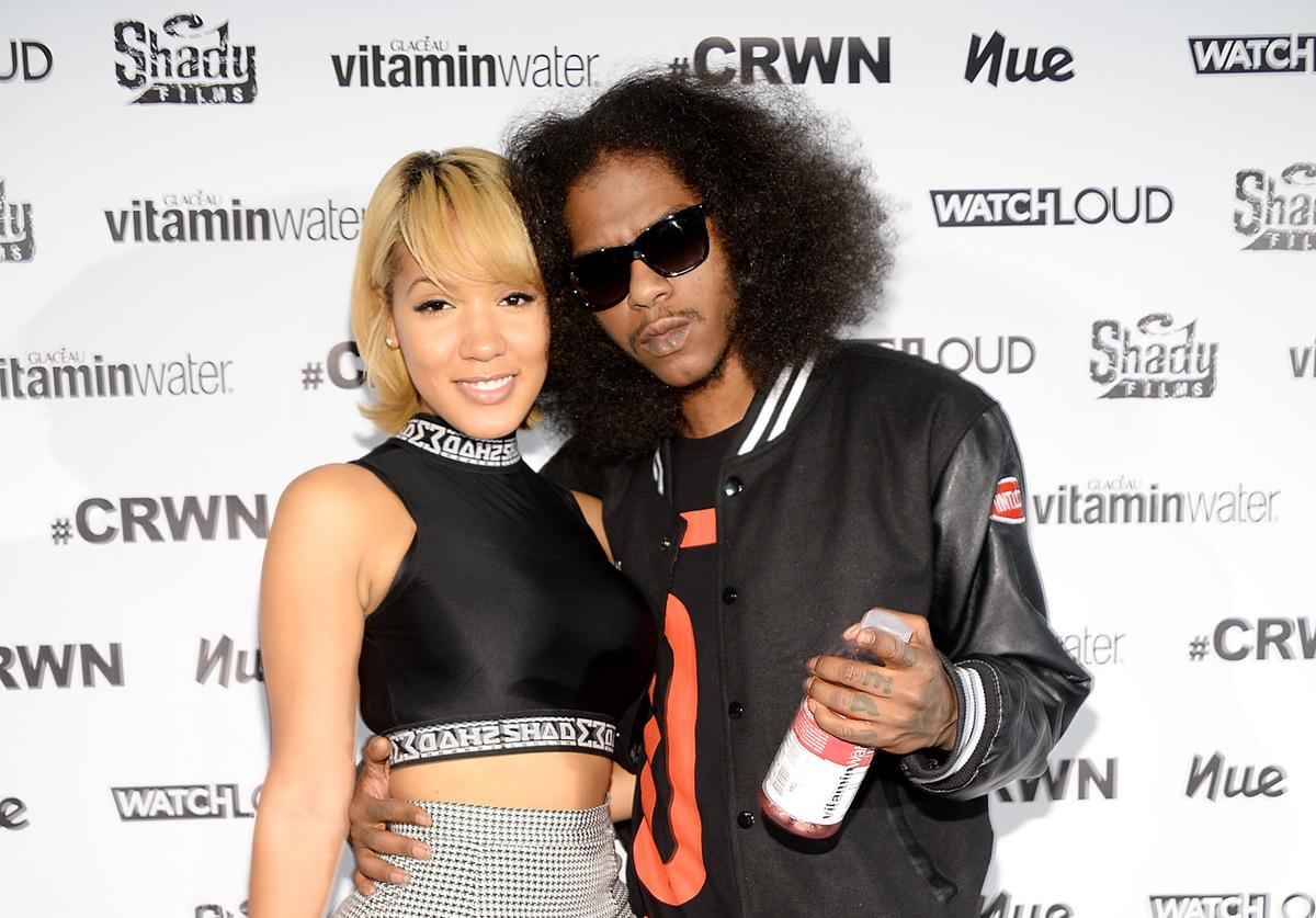 Yaris Sanchez (L) and rapper Ab-Soul attend Elliott Wilson hosts CRWN with Ab-Soul for WatchLOUD.com, presented by vitaminwater at the SVA Theater on September 16, 2014 in New York City
