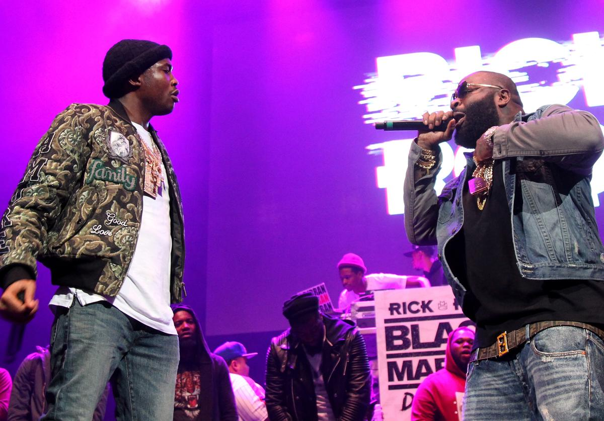 Meek Mill and Rick Ross perform onstage during 105.1's Powerhouse 2015 at the Barclays Center on October 22, 2015 in Brooklyn, NY