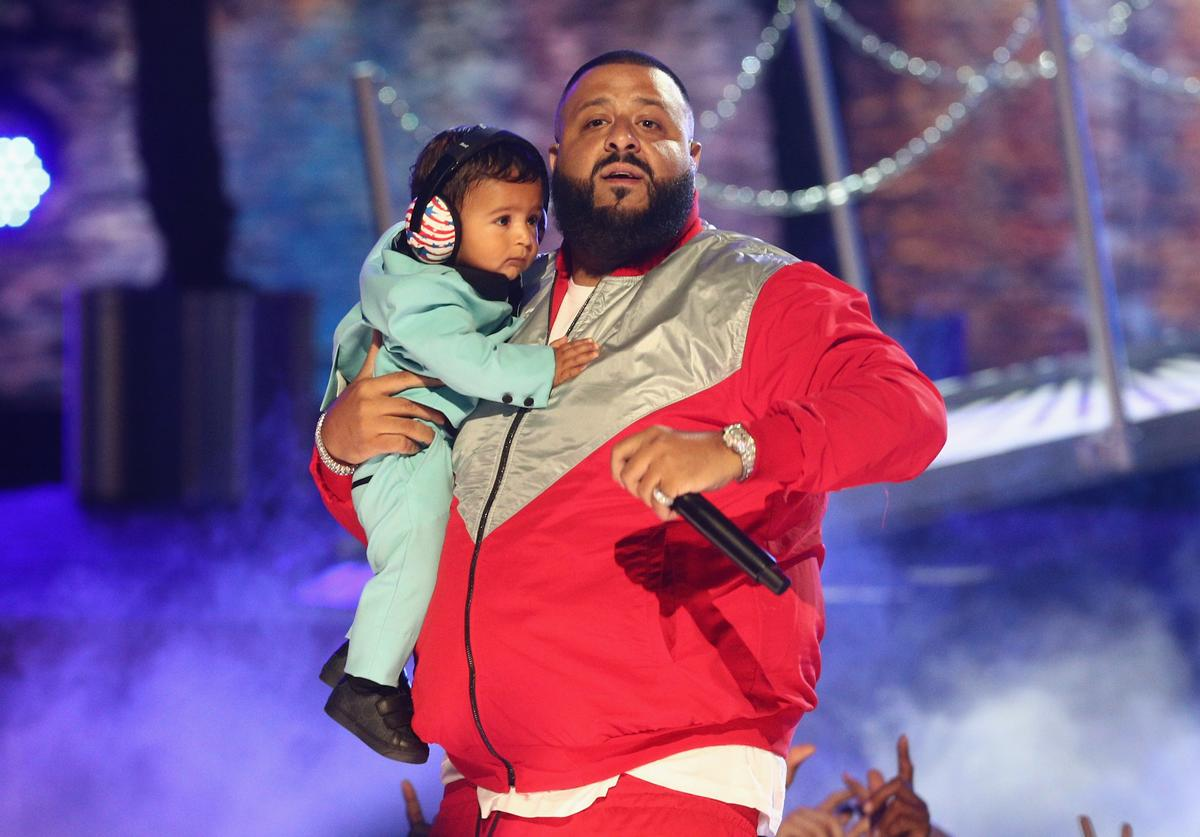 : DJ Khaled performs onstage with his son Asahd Tuck Khaled at 2017 BET Awards at Microsoft Theater on June 25, 2017 in Los Angeles, California.