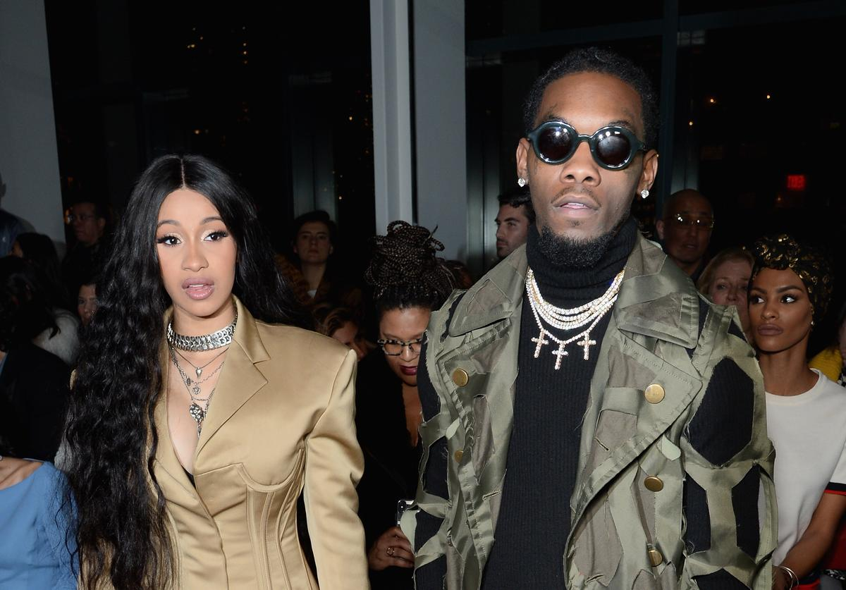Cardi B and Offset attend the Prabal Gurung front row during New York Fashion Week