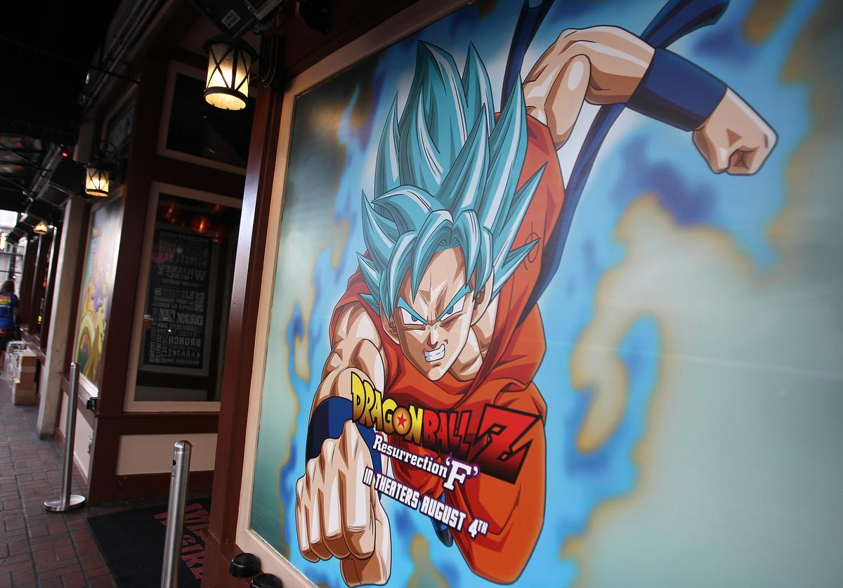 A Goku poster at the Dragon Ball Z: Resurrection 'F' San Diego Comic Con opening night