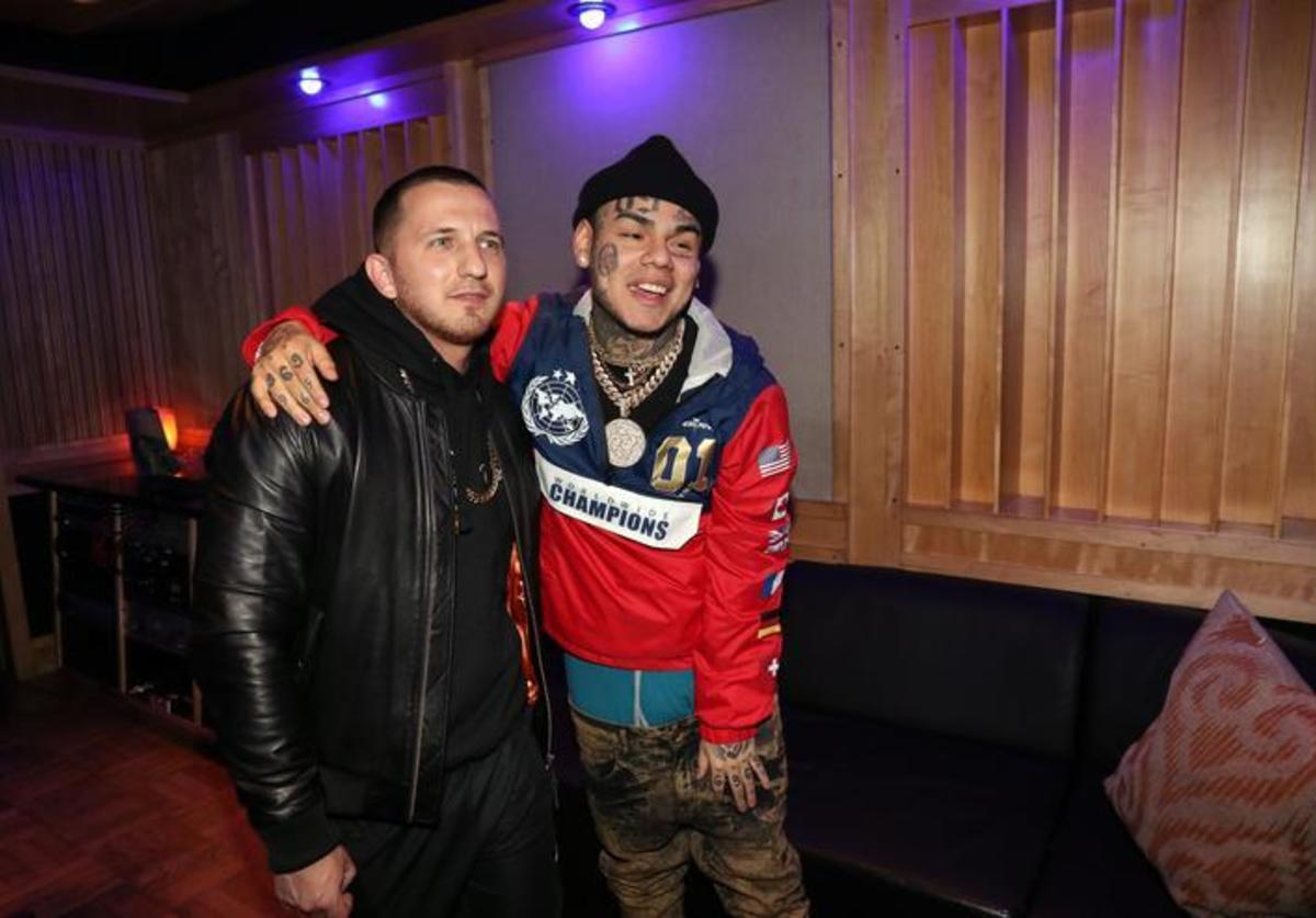 Pasha PG (L) and Tekashi 69 attend a Studio Session at Quad Studios on February 6, 2018 in New York City