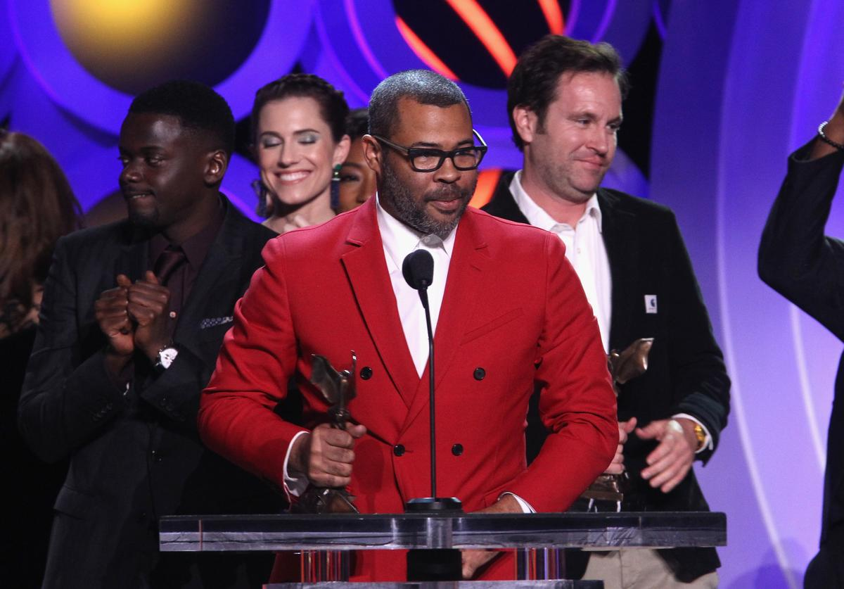 Actor/writer/director Jordan Peele (C) accepts Best Feature for 'Get Out' during the 2018 Film Independent Spirit Awards on March 3, 2018 in Santa Monica, California.