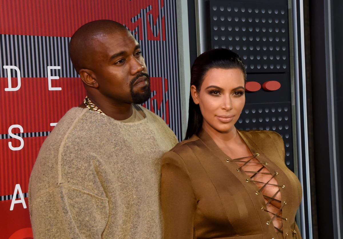 Kanye West and Kim Kardashian attend the 2015 MTV Video Music Awards at Microsoft Theater on August 30, 2015 in Los Angeles, California