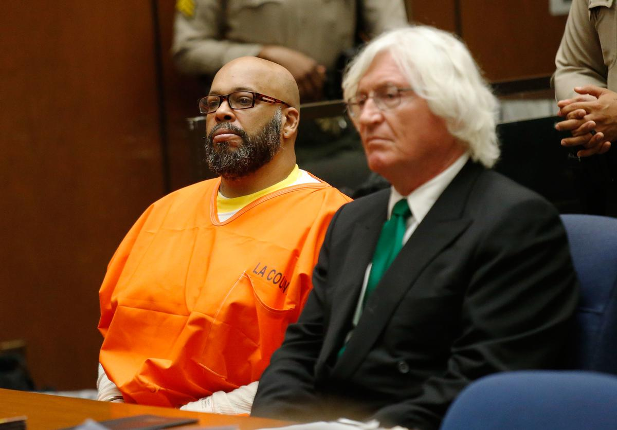 Marion 'Suge' Knight (L) makes a court appearance with his lawyer Thomas Mesereau at Criminal Courts Building on July 7, 2015 in Los Angeles, California. Knight is charged with murder and attempted murder after a hit-and-run incident following an argument in a parking lot January 29, 2015.