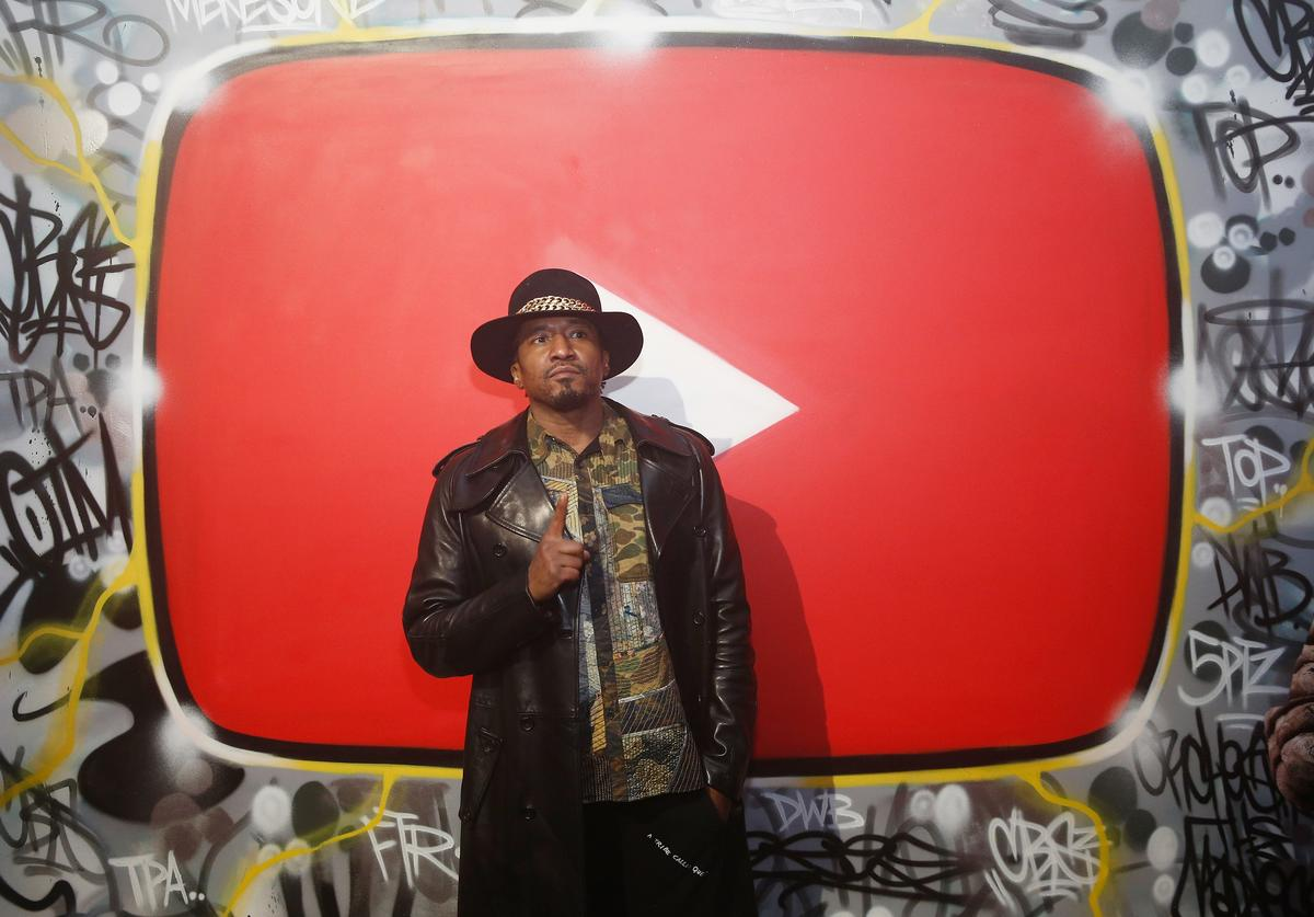Q-Tip attends YouTube brings the BOOM BAP BACK to New York City With Lyor Cohen, Nas, Grandmaster Flash, Q-Tip, Chuck D and Fab 5 Freddy on January 26, 2018 at Industria in New York City.