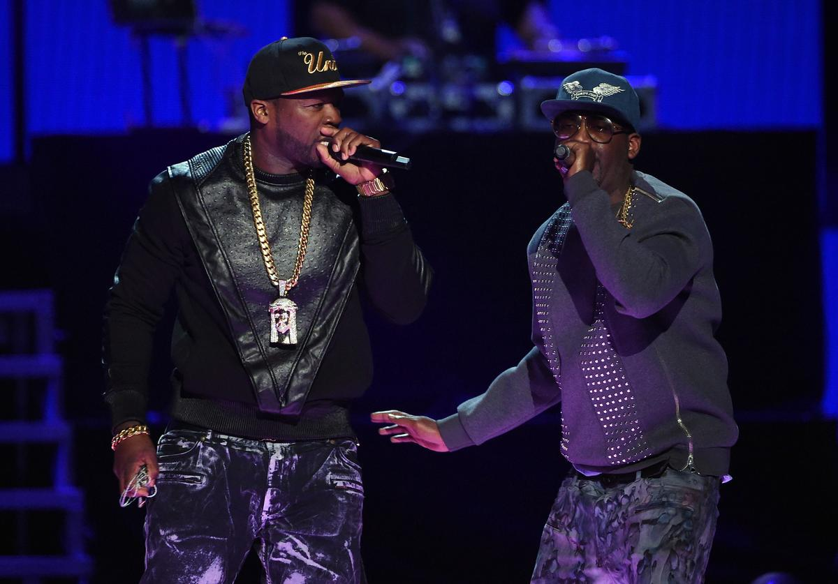 50 Cent (L) and Tony Yayo of G-Unit perform during the 2014 iHeartRadio Music Festival at the MGM Grand Garden Arena on September 20, 2014 in Las Vegas, Nevada