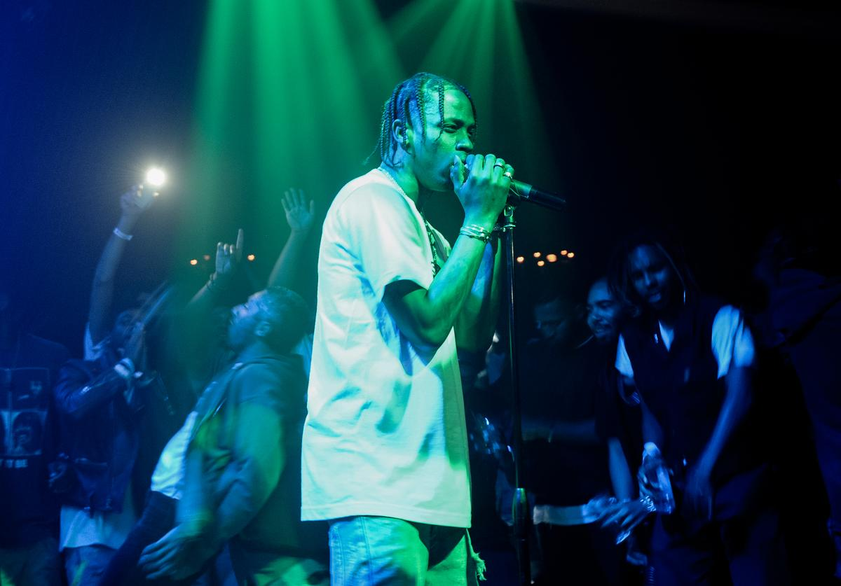 Travis Scott performs at the Hennessy V.S Ryan McGinness limited edition bottle launch event at Sayer's on August 20, 2015 in Los Angeles, California
