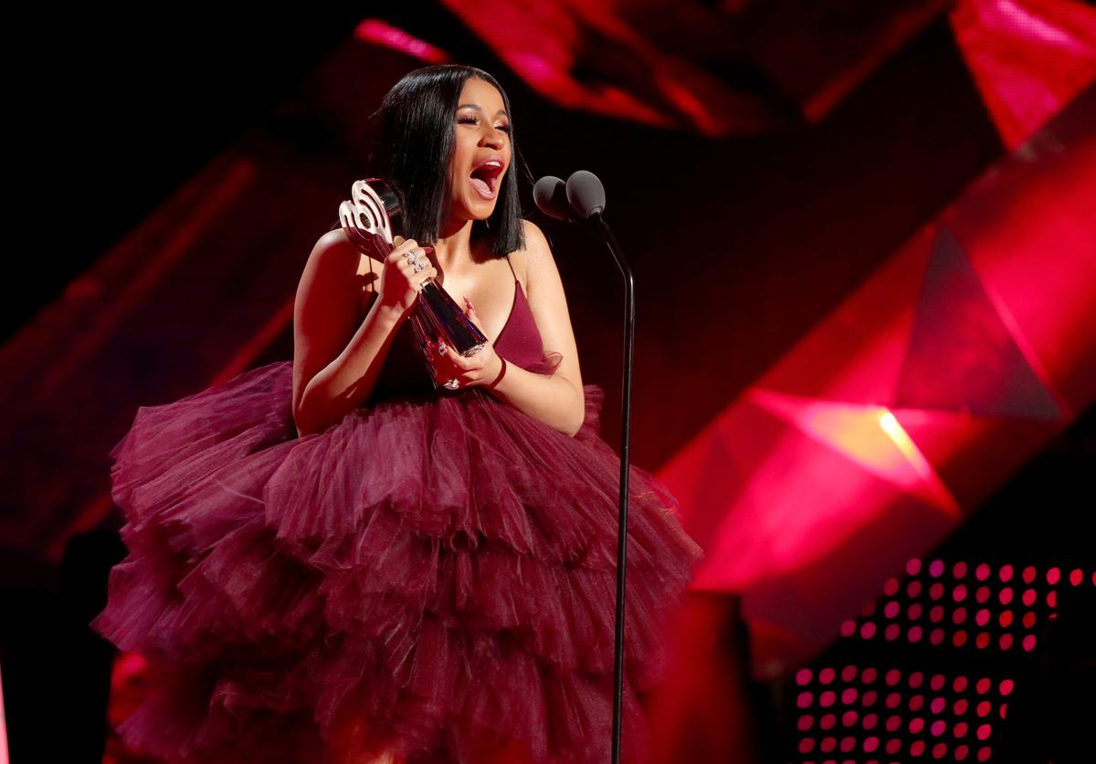 Cardi B accepts Best New Artist onstage during the 2018 iHeartRadio Music Awards which broadcasted live on TBS, TNT, and truTV at The Forum on March 11, 2018 in Inglewood, California