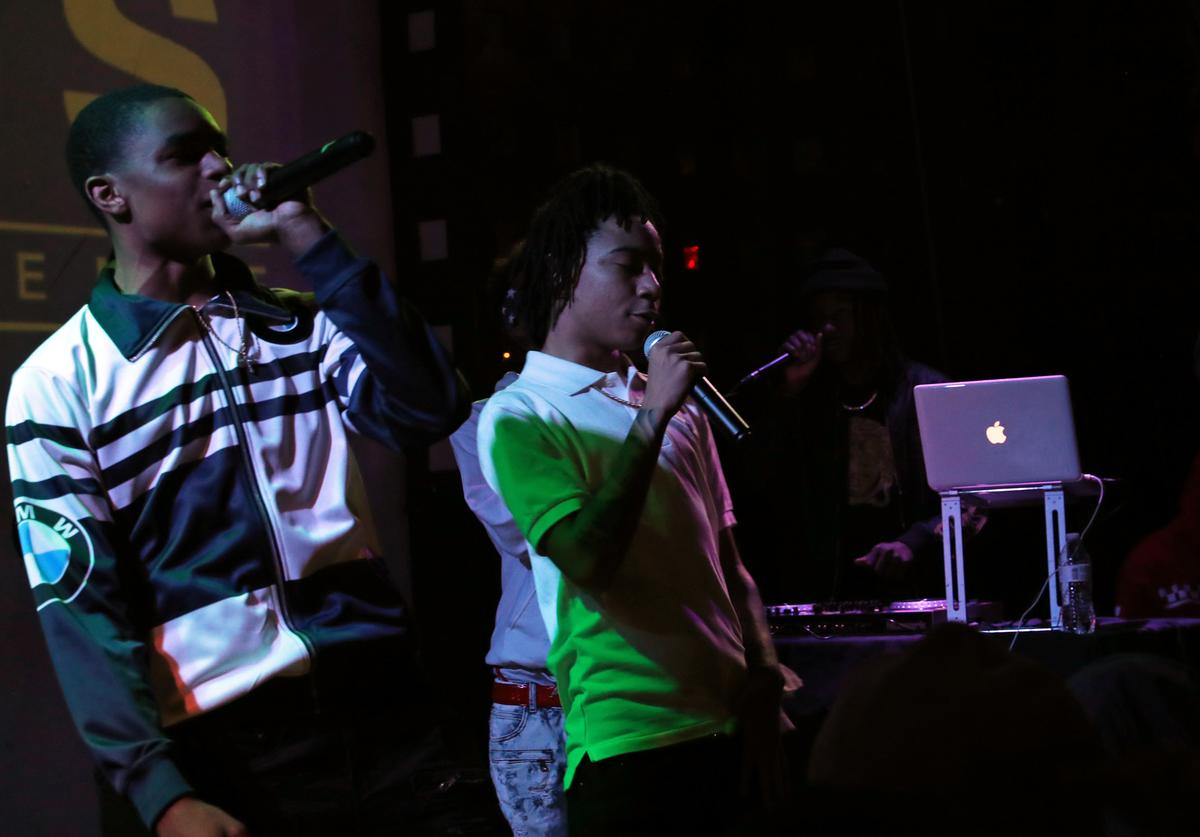 YBN Almighty Jay (L) and YBN Nahmir perform at S.O.B.'s on December 21, 2017 in New York City