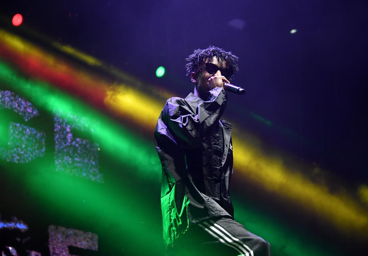 21 Savage performs onstage at adidas Creates 747 Warehouse St. - an event in basketball culture on February 17, 2018 in Los Angeles, California