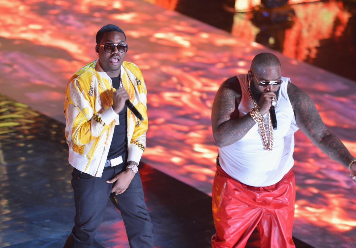 Meek Mill and Rick Ross performs at BET's Rip The Runway 2013:Show at Hammerstein Ballroom on February 27, 2013 in New York City