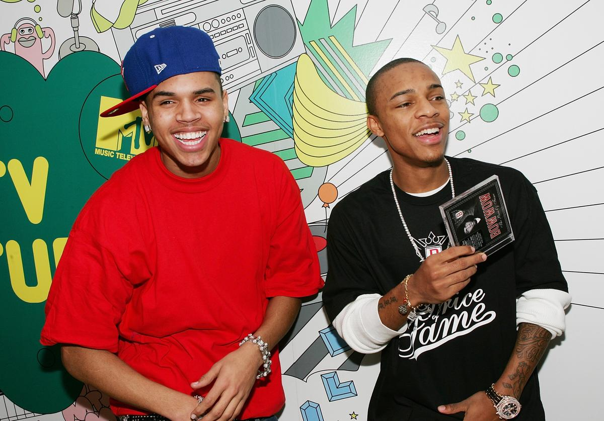 Chris Brown and Bow Wow pose backstage after an appearance on MTV's Total Request Live at MTV Studios December 19, 2006 in New York City