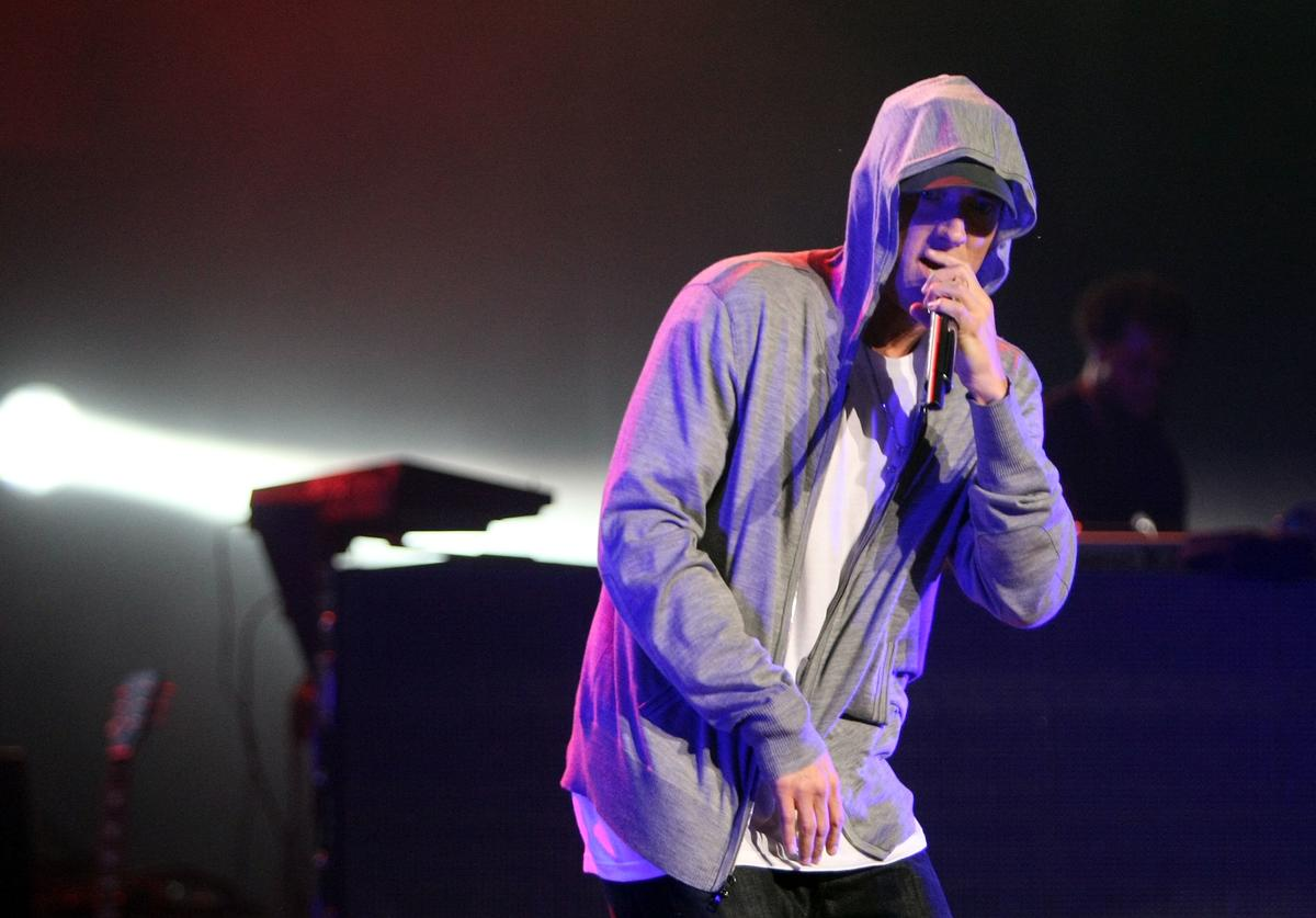 Eminem performs on-stage at the launch of 'DJ Hero' at the Wiltern Theatre on June 1, 2009 in Los Angeles, California