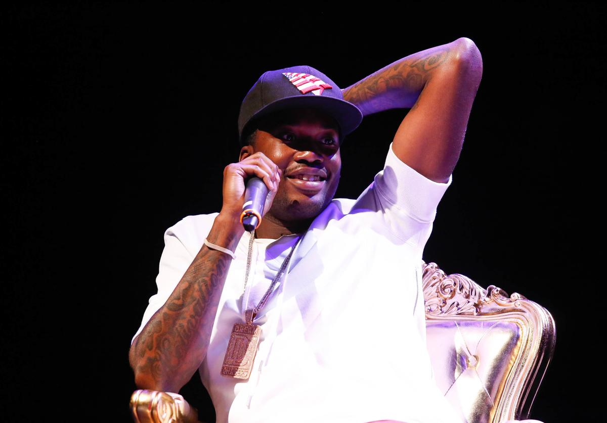 Meek Mill talks on stage at CRWN A Conversation With Elliott Wilson & Meek Mill event at Gramercy Theatre on July 2, 2015 in New York City