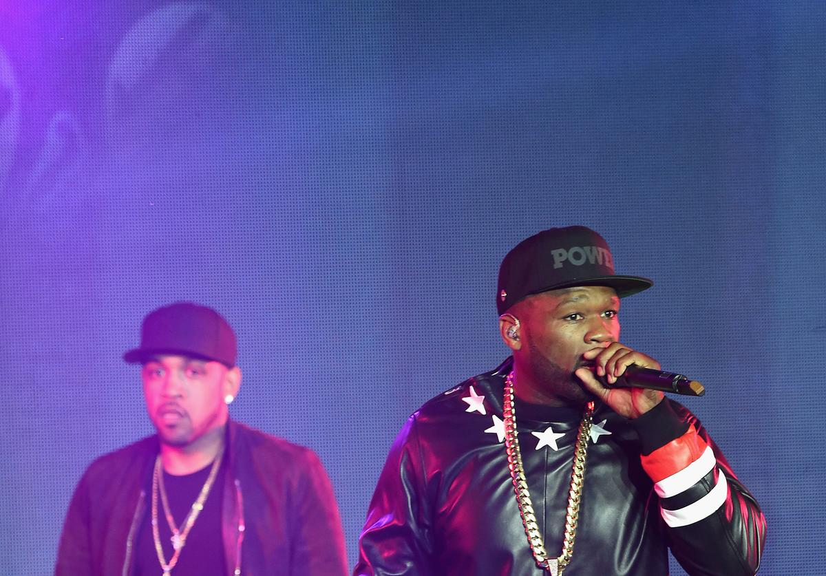 Lloyd Banks (L) Curtis '50 Cent' Jackson of G-Unit perform during the 'Power' season two premiere event with a special performance from 50 Cent, G-Unit and other guests on June 2, 2015 in New York City