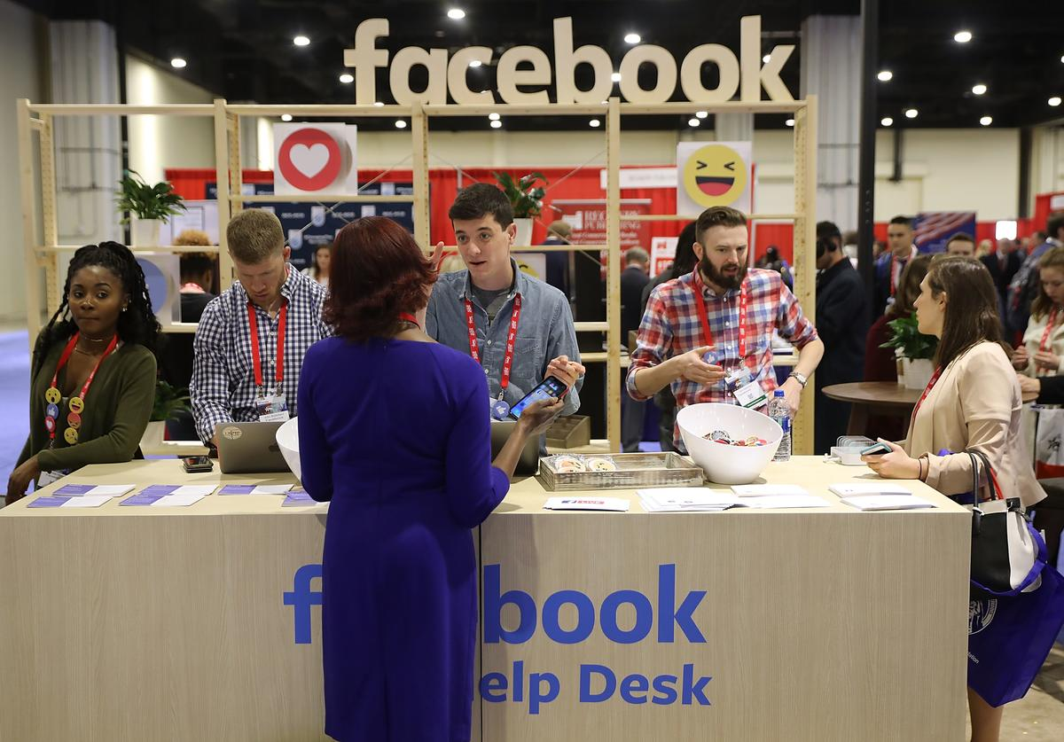 Attendees visit the Facebook Help Desk inside the Conservative Political Action Conference Hub at the Gaylord National Resort and Convention Center February 23, 2018 in National Harbor, Maryland.