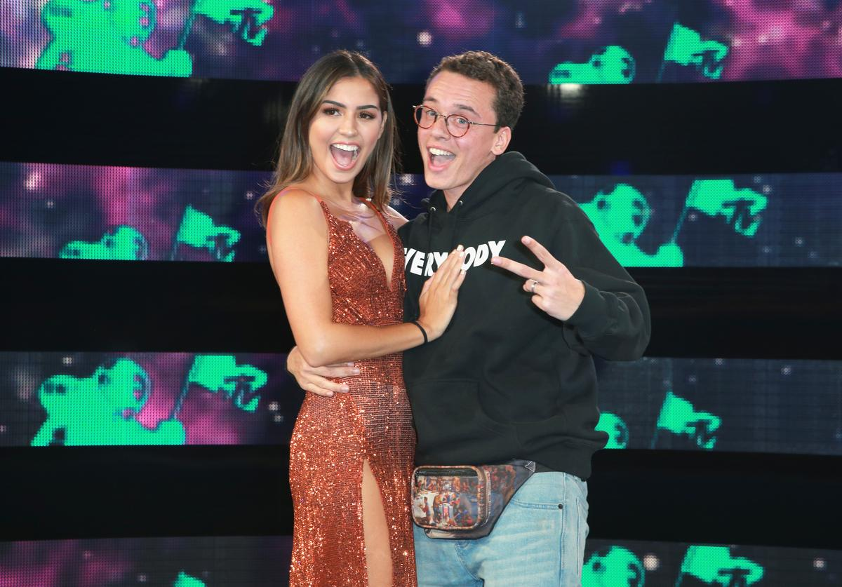 Jessica Andrea (L) and Logic attend the 2017 MTV Video Music Awards at The Forum on August 27, 2017 in Inglewood, California