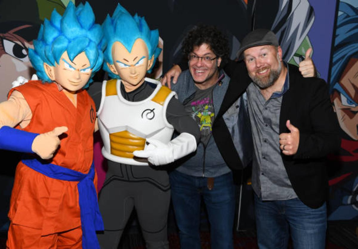 Christopher Sabat and Sean Schemmel attend the Dragon Ball Super NYCC Fan Meetup on October 7, 2017 in New York City