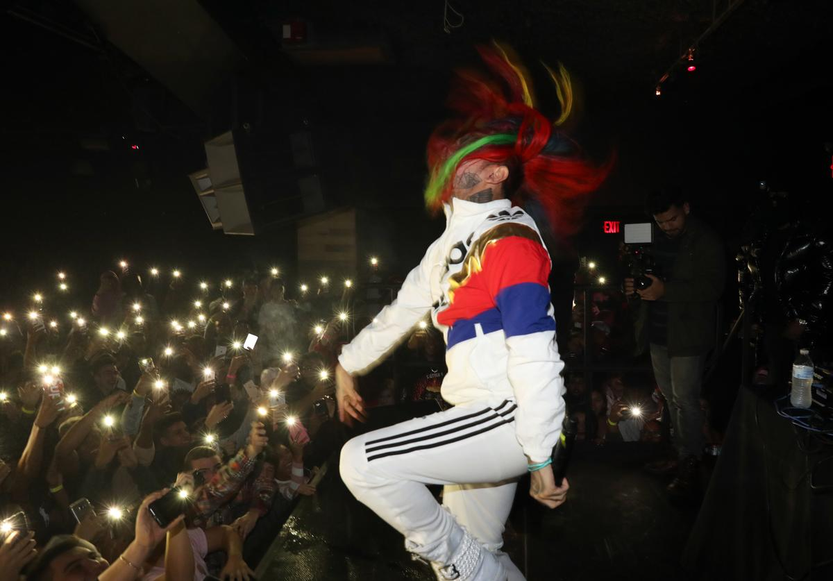 6ix9ine performs at FREQ NYC on December 30, 2017 in New York City