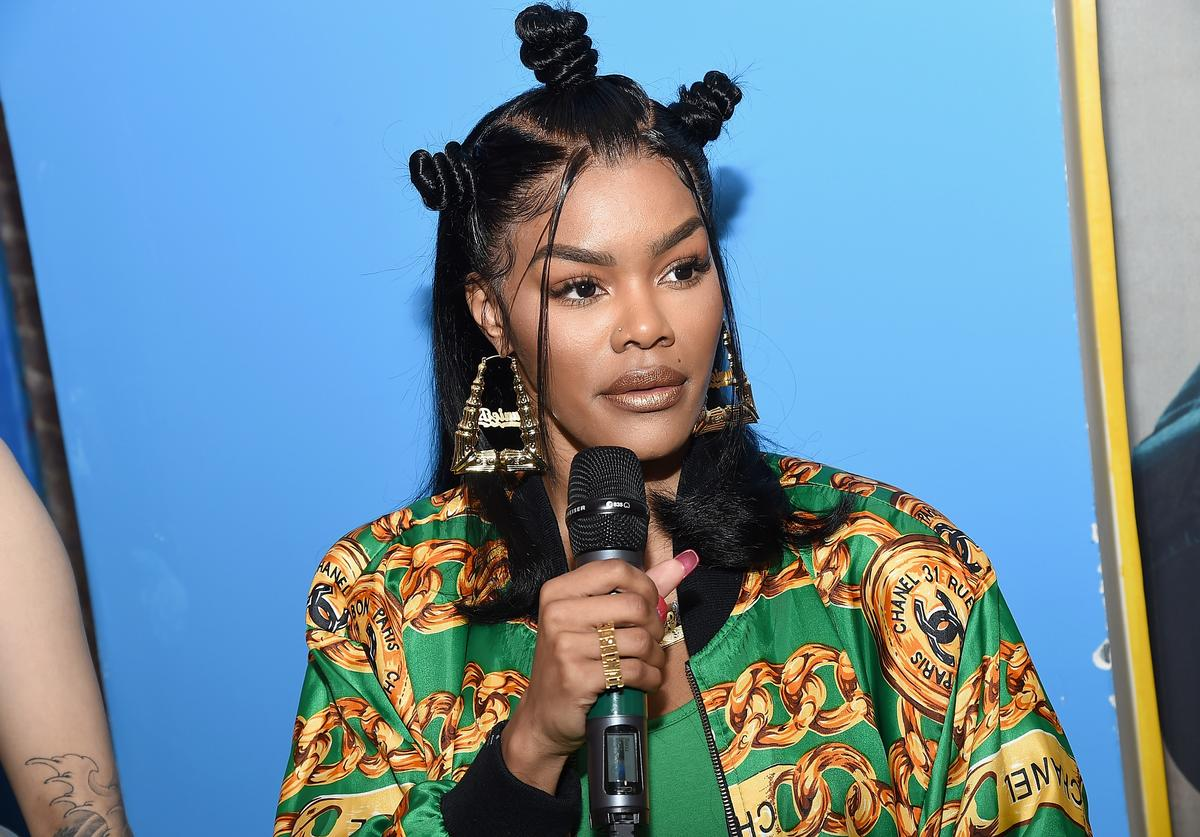 Teyana Taylor speaks at the Junie Bee Nail Salon grand opening on February 15, 2018 in New York City.
